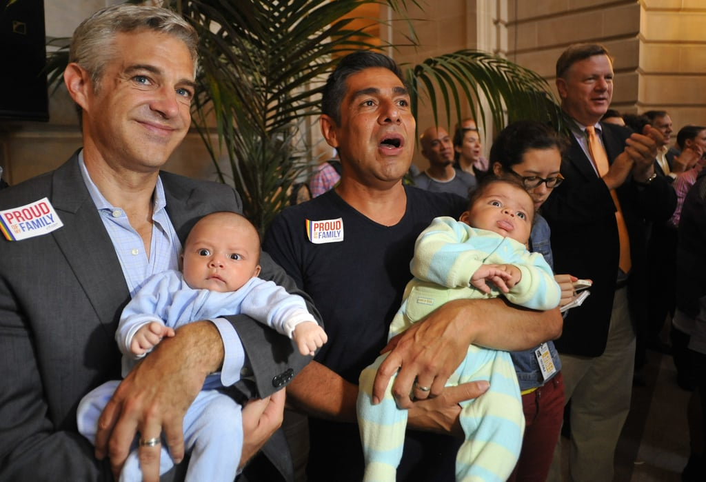 Couples and their families came out to SF City Hall to celebrate the gay rights victories.