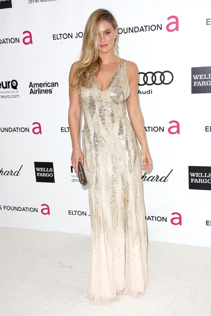 Bar Refaeli channeled bombshell glamour in a decadent sequined Roberto Cavalli gown.