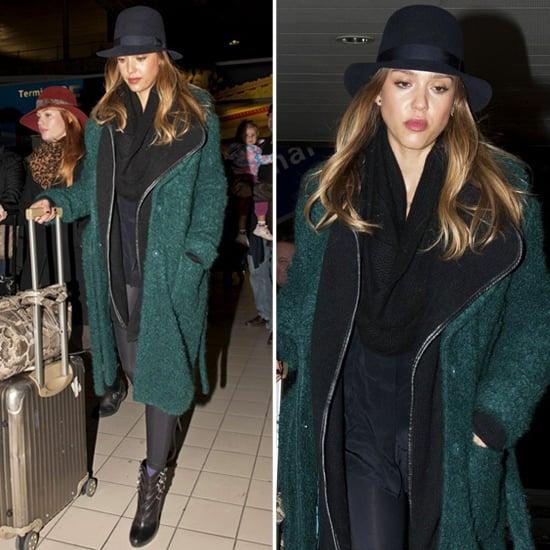 Jessica Alba Wearing Green Coat