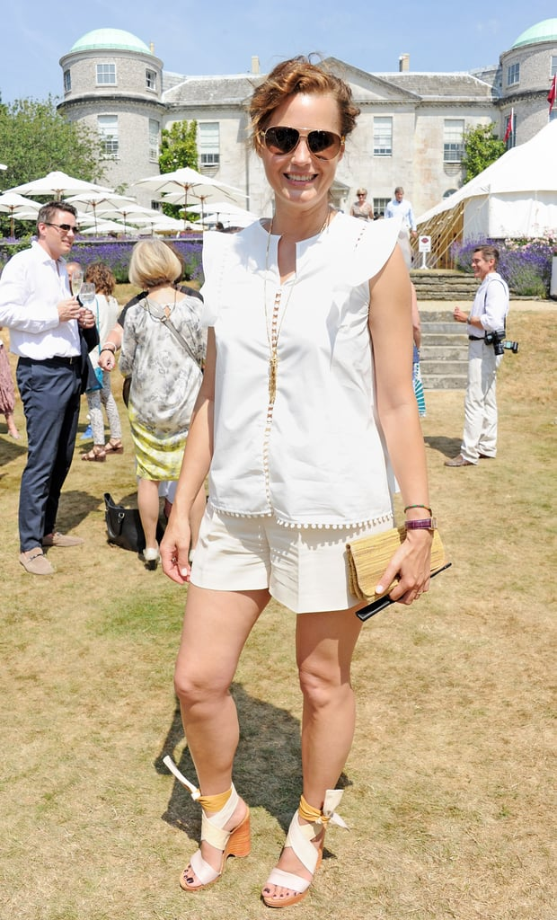 Yasmin Le Bon lunched with Cartier in a crisp white ensemble that included ankle-tie sandals.