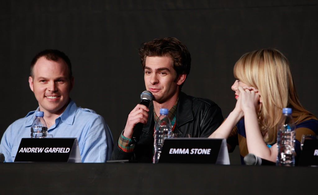 Marc Webb, Andrew Garfield, and Emma Stone linked up at a press conference for The Amazing Spider-Man in Seoul.