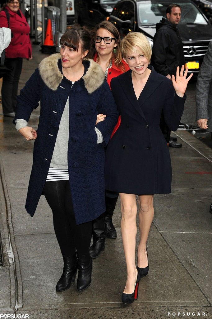 Michelle Williams waved on her way to the Late Show in NYC.