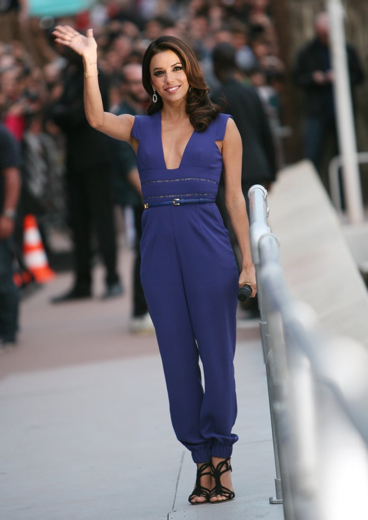 Eva jumped on the jumpsuit train in a structured Elie Saab in May 2012.