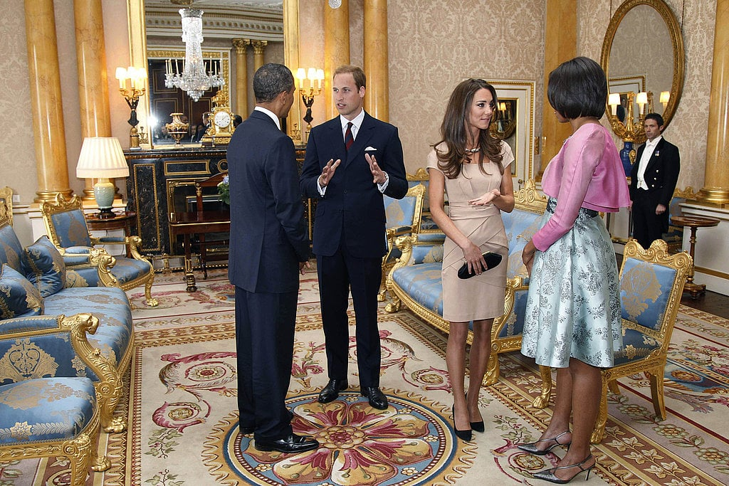 Michelle wore a pale-green Barbara Tfank dress with a cropped pink jacket during a visit with the royal newlyweds.