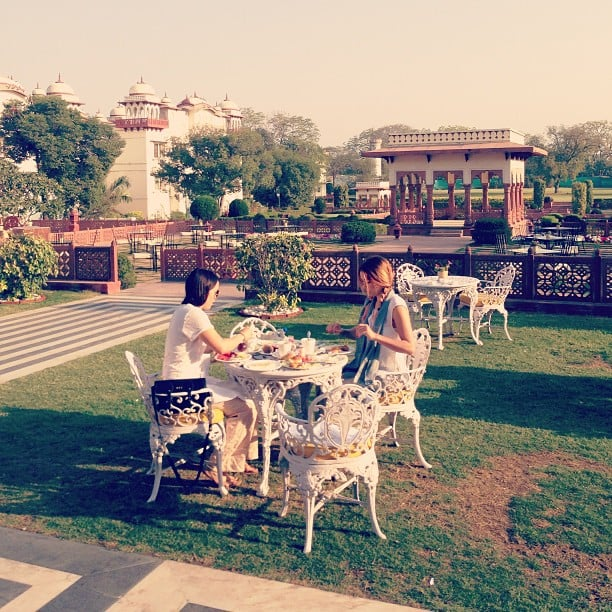 Lauren Conrad and her friend Hannah sat outside for breakfast in Jaipur.  Source: Instagram user hannahskvarla