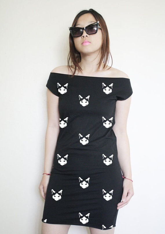 "You'll be throwing some shade when you wear this black cat dress ($36) that screams ""attitude."""