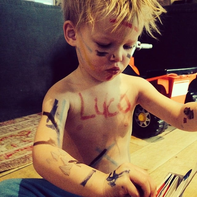 "Luca Comrie put on his ""war paint"" one morning. Source: Instagram user hilaryduff"