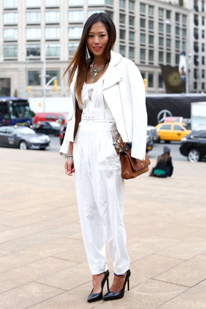 For a less overt nod to the trend, try Aimee Song's mix with a monochromatic white outfit and black heels to finish it off.