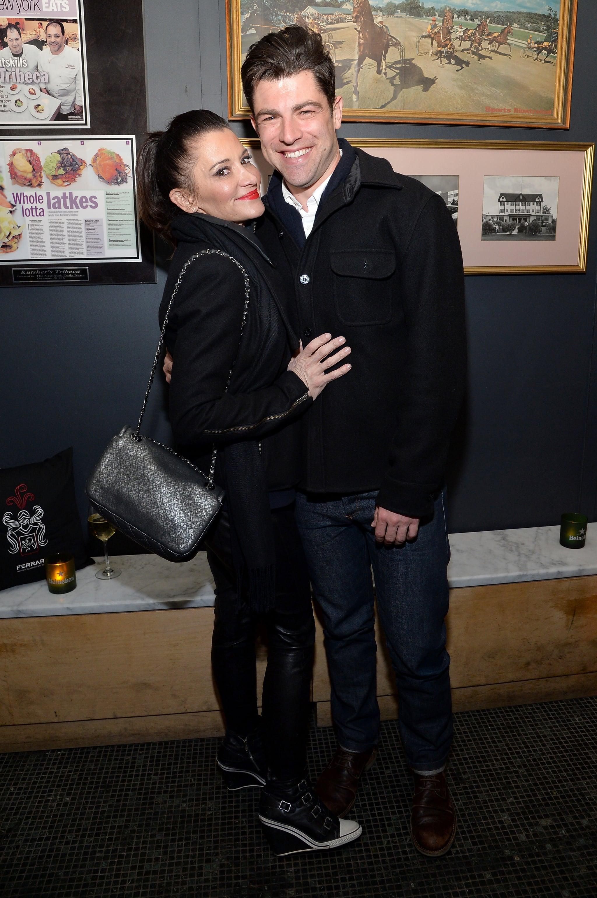 Max Greenfield smiled with Tess Sanchez at the About Alex afterparty.