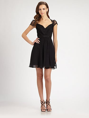 ABS Lace-Trimmed Silk Dress