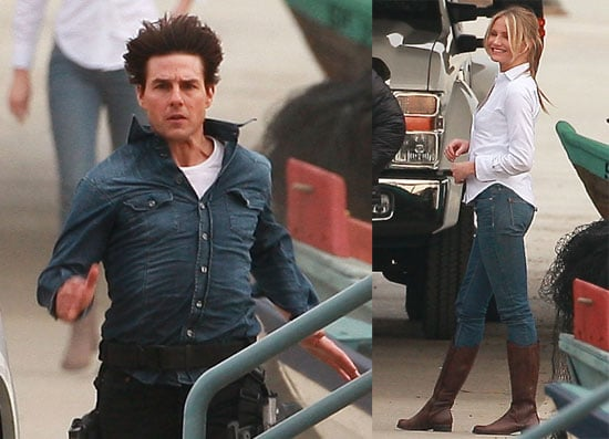 Photos of Tom and Cameron on set