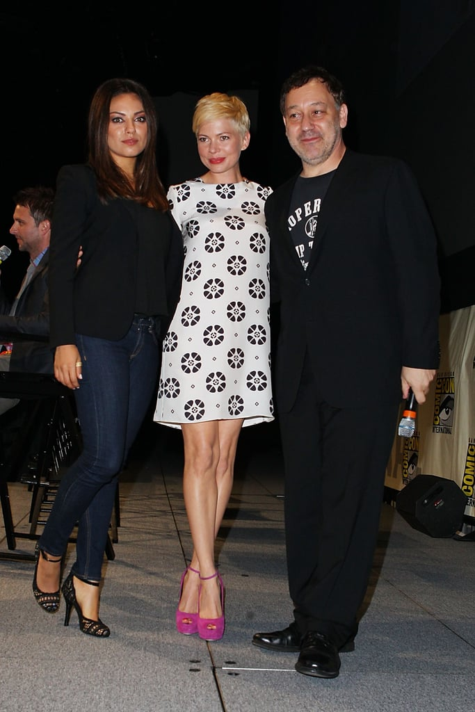 Michelle Williams, Mila Kunis, and Sam Raimi linked up to promote Oz: The Great and Powerful at Comic-Con.