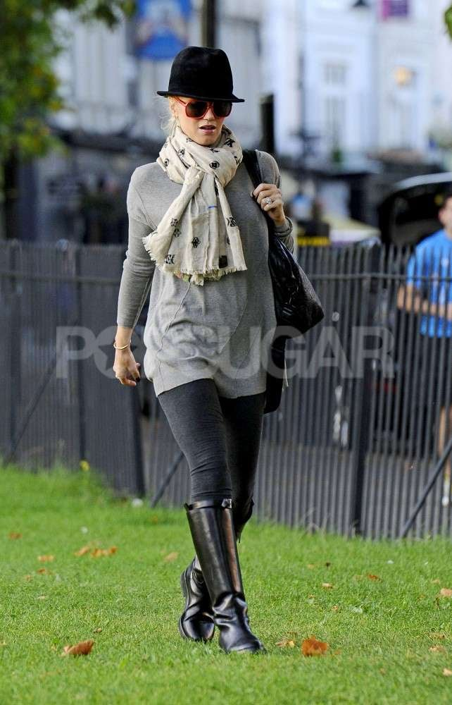 Gwen Stefani wore tall boots to a park in London.