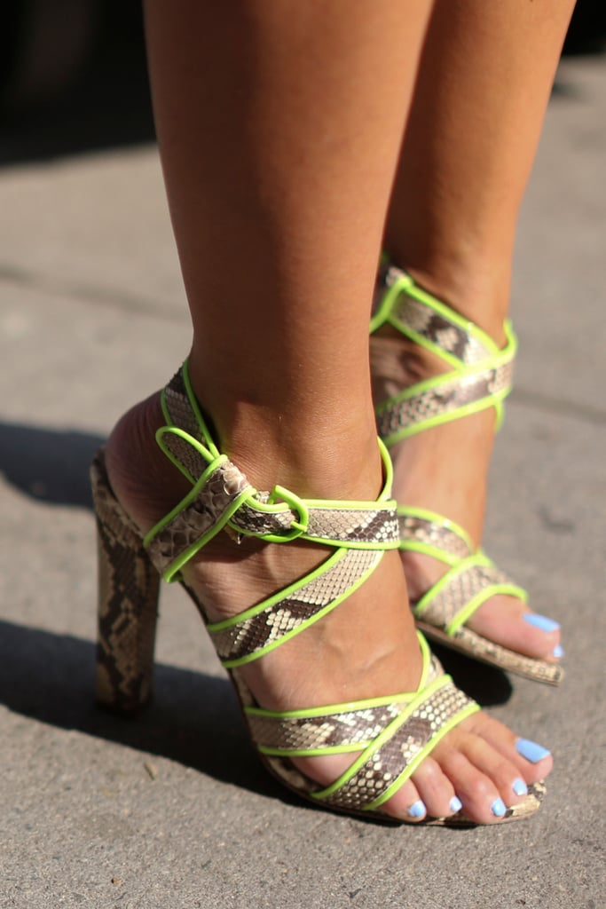 Citron-infused snake print made these heels majorly cool.