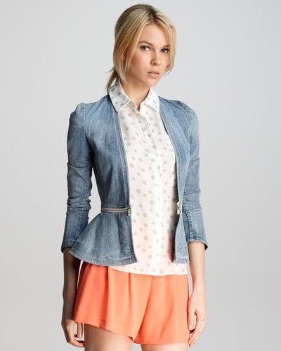 Rebecca Taylor Denim Peplum Jacket