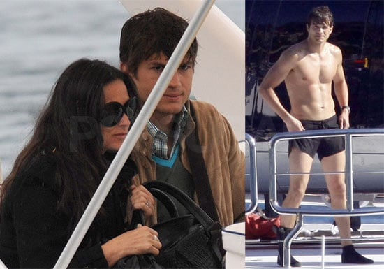 Shirtless Ashton Kutcher and Demi Moore