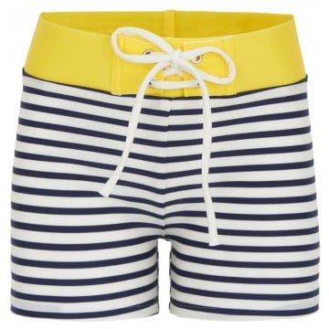 You can't go wrong with nautical stripes for Summer, and Finger in the Nose's navy and yellow trunks ($65) are no exception!