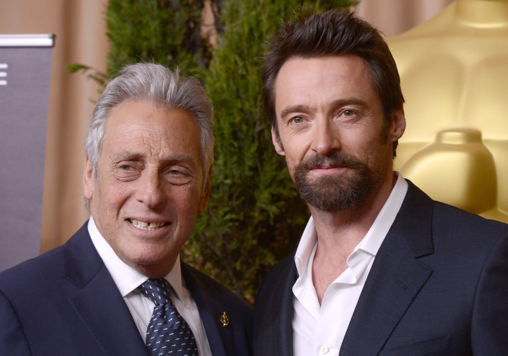Hugh Jackman posed with Hollywood producer Hawk Koch before heading into the Oscars luncheon.