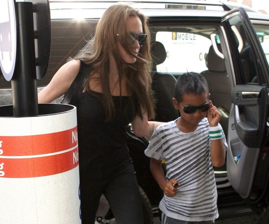 Photo Slide of Angelina Jolie and Maddox Jolie-Pitt at LAX