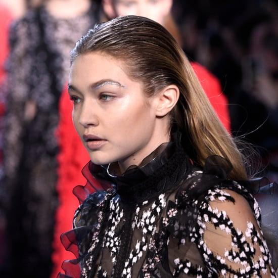 Gigi Hadid Glitter Eyebrows at Giambattista Valli 2016