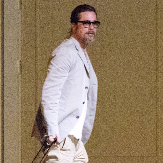 Brad Pitt Wearing a Ponytail at the Airport in France
