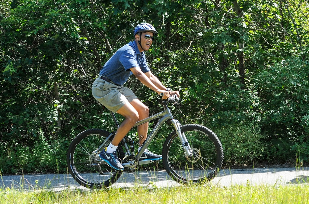 President Obama enjoyed a family bike ride with his wife Michelle and his daughters Malia and Sasha at during a vacation on Martha's Vineyard.