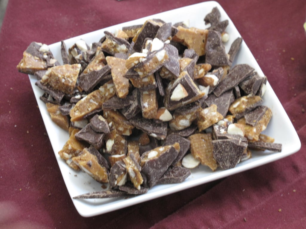 Dolce Bella Chocolates made an almond toffee from fresh roasted central valley almonds, Guittard 61 percent dark chocolate, and lots of butter.