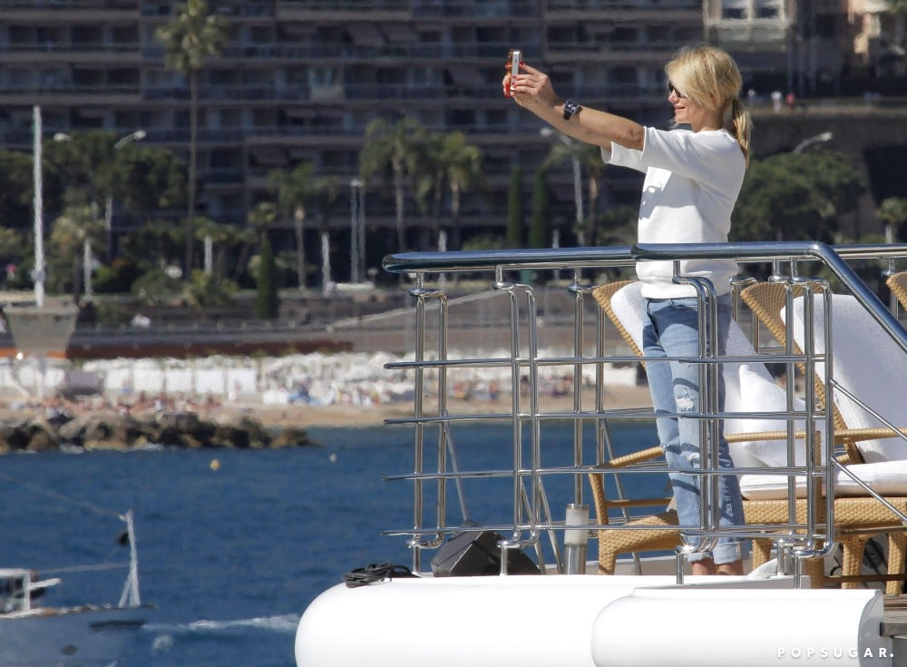 Cameron Diaz snapped pictures off the side of a yacht in Monaco on Sunday.