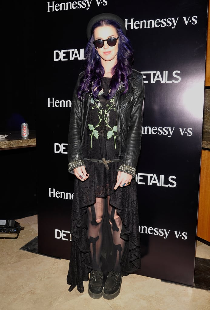 Katy Perry added a leather jacket to her high-low hemline — and violet-hued hair — at the Hennessy V.S and Details magazine party.