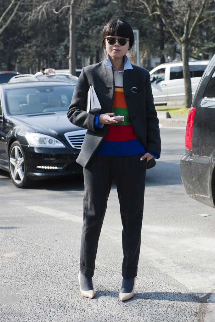 Reinvent the suit with a bright top under your blazer.