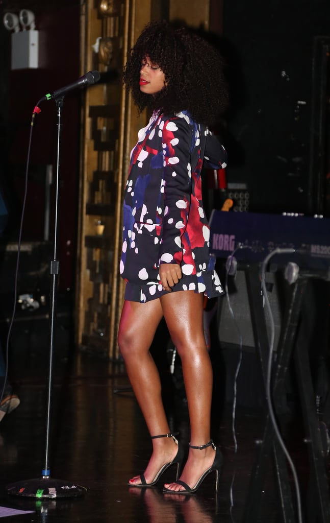 Solange loved her printed Diane von Furstenberg pantsuit so much that she sported the shorts version during a performance in NYC.
