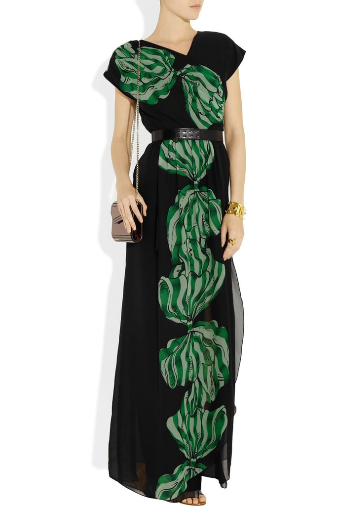 This statement maxi is elegant and totally worthy of your more formal evening events. Anna Sui Bow-Print Wrap-Effect Maxi Dress ($510)