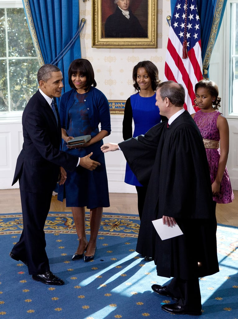 A full-length shot of Michelle's Reed Krakoff ensemble at the swearing-in ceremony at the White House on Sunday.