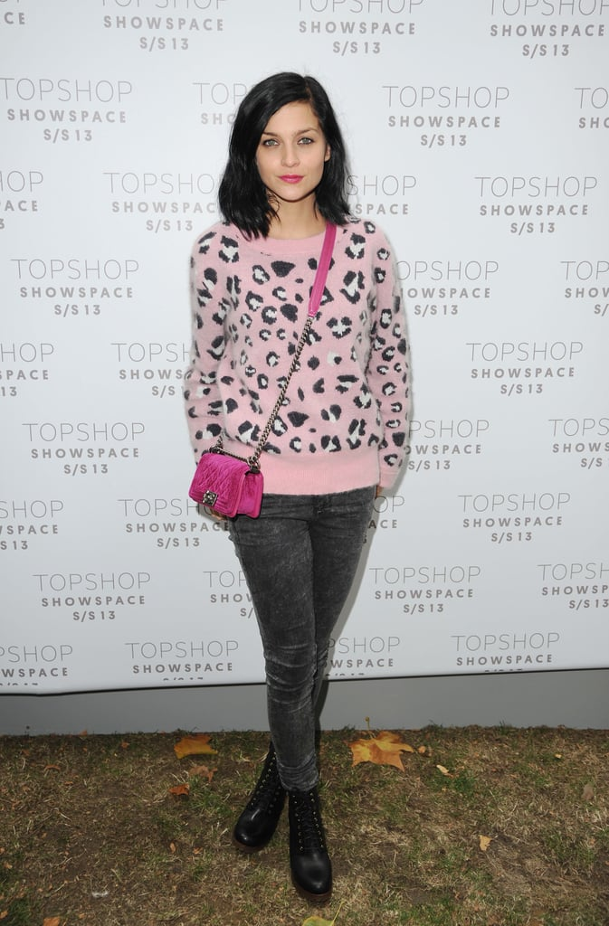 Leigh Lezark topped her grey jeans with pink accents for the Topshop Unique show.