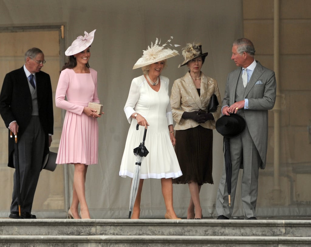 Kate Middleton, Duchess of Cambridge, Camilla, Duchess of Cornwall, Princess Royal, and Prince Charles, Prince of Wales, attended a garden party at Buckingham Palace on May 29.
