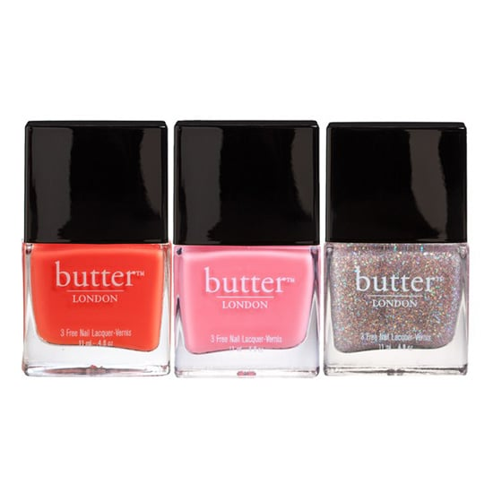 """All Butter London polishes ($15 each) are """"three free,"""" meaning that they don't contain toluene, formaldehyde, or dibutyl phthalate. And for a polish that's free of nasty chemicals, their lasting power is amazing. Plus, the color options are stellar."""