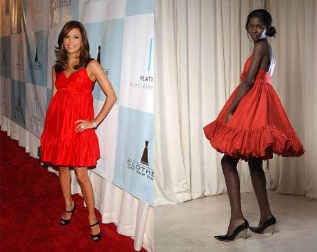 Found! Eva Longoria's Red Ruffle Dress