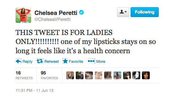 @ChelseaVPeretti is worried about her lipstick's staying power.