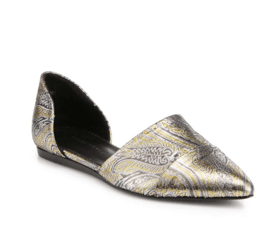 A classic style for designer Jenni Kayne, the d'orsay flat ($525) is ready for the holidays in a natty metallic paisley print.