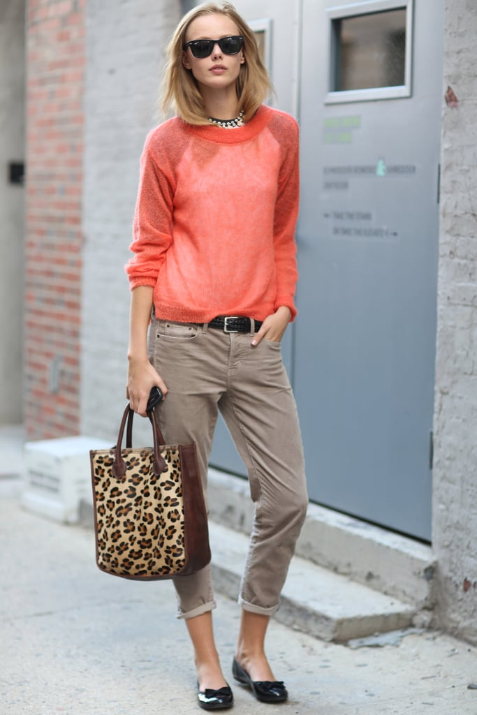 Easy separates in perfect proportion, with a pop of color and print. Source: Greg Kessler
