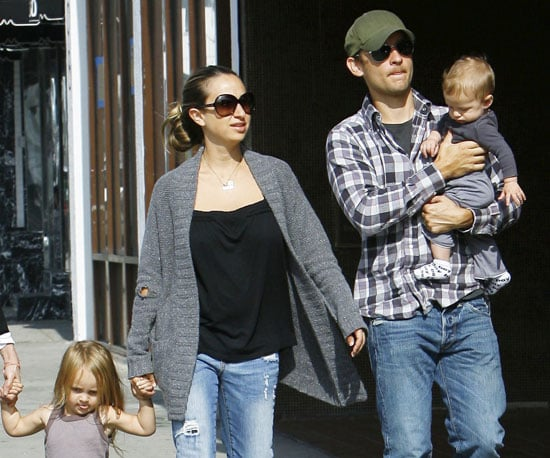 Slide Photo of Tobey Maguire with Jennifer Meyer and Kids Ruby and Otis in LA at Lunch