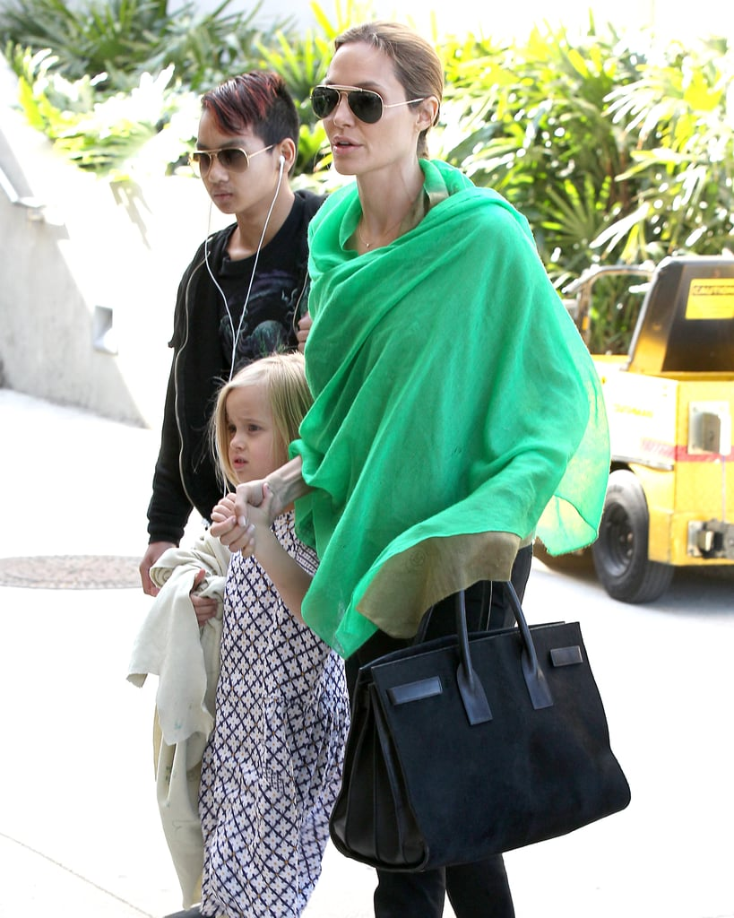The most recent sighting of Angelina and her Saint Laurent was when she carried it while touching down at LAX.