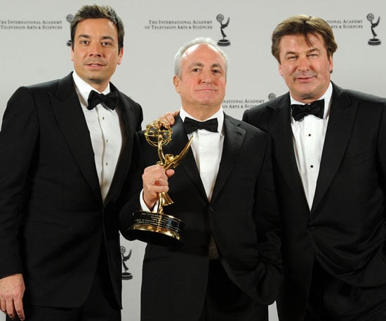 Slide Picture of Jimmy Fallon, Lorne Michaels, and Alec Baldwin at International Emmy Awards