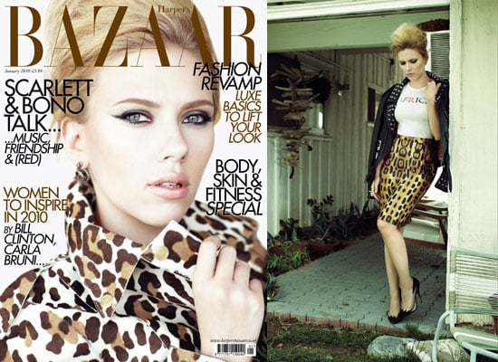 Photos of Scarlett Johansson on Harper's Bazaar Cover January 2010 Issue Interview With U2's Bono About RED Campaign and Clothes 2009-12-02 05:00:00