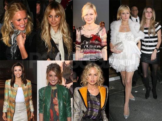 Photos of Paris Hilton, Nicky Hilton, Rachel Zoe, Kirsten Dunst, Kate Bosworth, and Nicole Richie at New York Fall Fashion Week