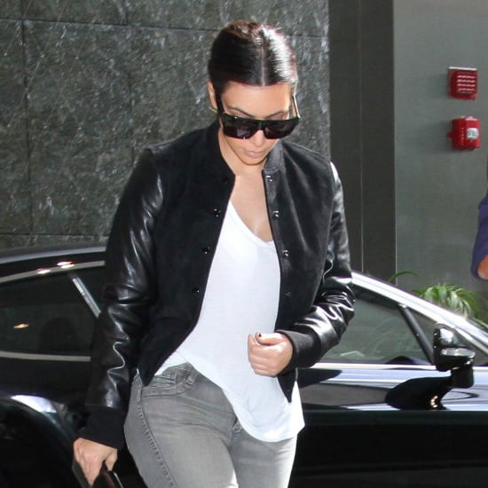 Kim Kardashian Wearing Leather Varsity Jacket