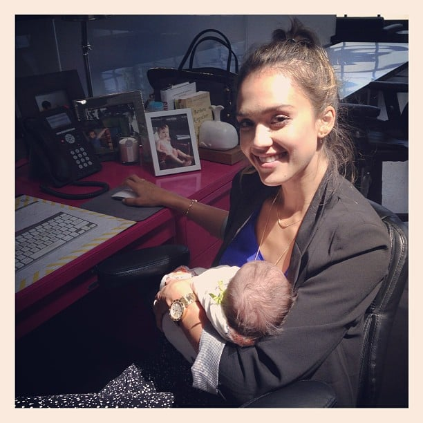 Jessica Alba cradled a baby at her Honest Company offices. Source: Instagram user jessicaalba