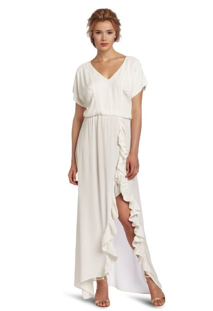 We could picture this fuss-free gown at a tropical beach wedding.  Patterson J. Kincaid Women's Rosemary Maxi Dress ($218)