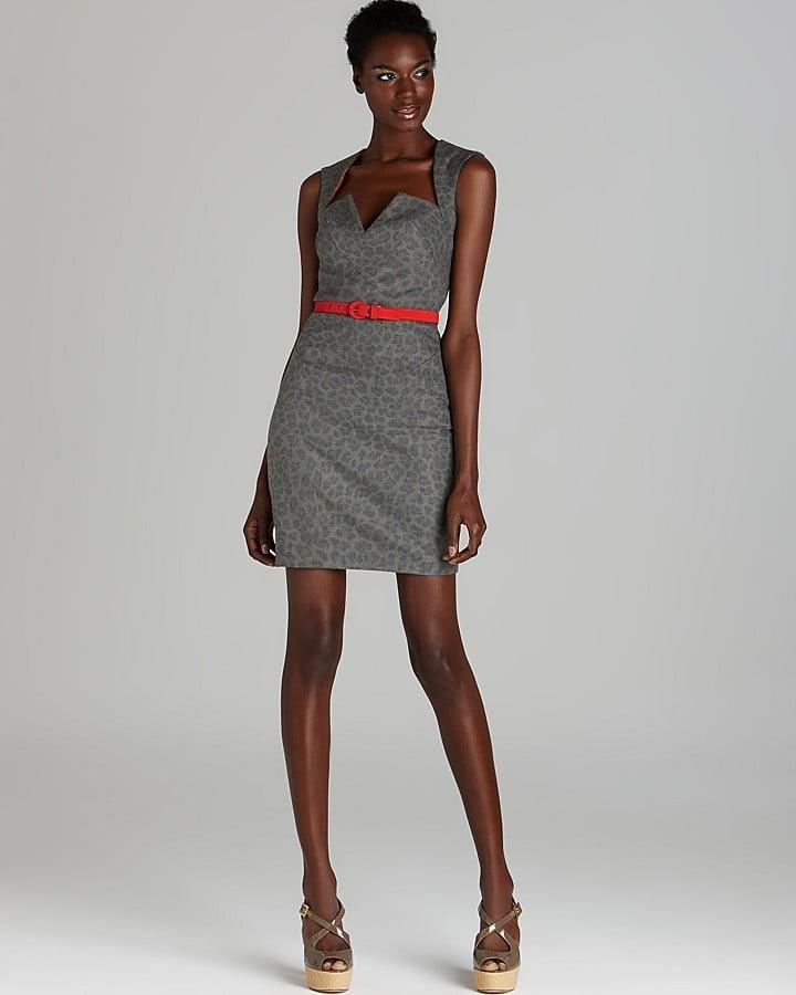 Black Halo Gray Leopard Dress