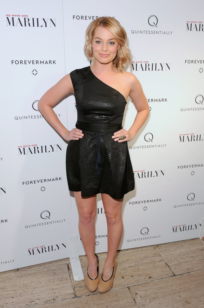 Margot Robbie wore a one-shouldered black dress to the NYC premiere of My Week With Marilyn on Nov. 13.